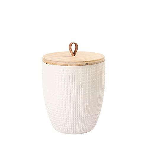 Animal Tree® personalisierbare Keramik Tierurne mit Holz-Deckel Karo - Creme