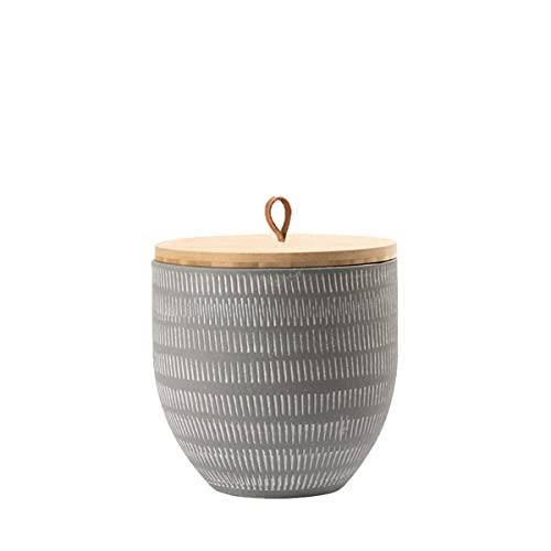 Animal Tree® personalisierbare Keramik Tierurne mit Holz-Deckel Match - Beton grau, S - für Tiere bis 10 kg