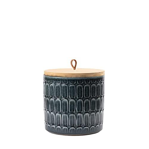 Animal Tree® personalisierbare Keramik Tierurne mit Holz-Deckel Kroko - Petrol