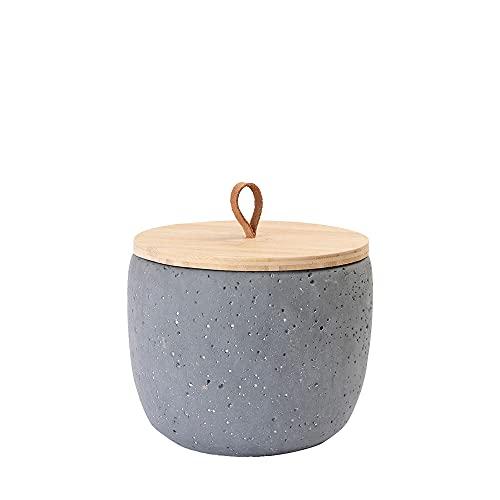 Animal Tree® personalisierbare Keramik Tierurne mit Holz-Deckel Beton grau - S - für Tiere bis 10 kg