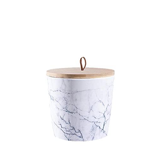 Animal Tree® personalisierbare Keramik Tierurne mit Holz-Deckel im Marmor-Design - M - für Tiere bis 20 kg