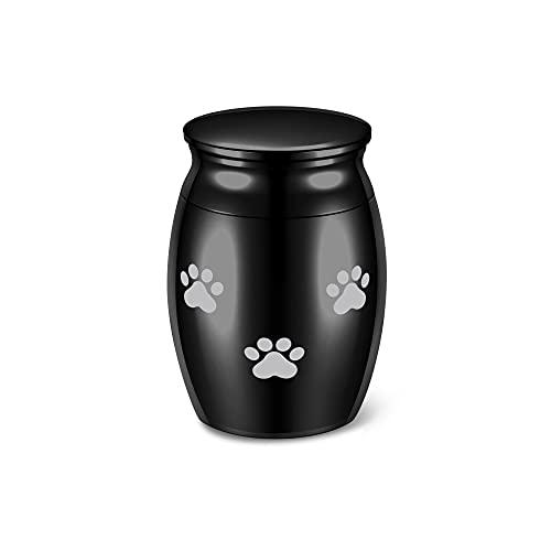 JSDDE Mini Urne aus Edelstahl Wasserdicht Gedenkurne Schwarz Hundepfote Muster Haustier Andenken Urne Memorial Beerdigung Andenken Urne Andenken zur sicheren Aufbewahrung von Asche