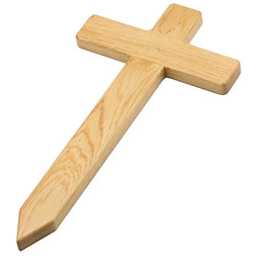Edles kleines Holzkreuz aus europ. Eiche fürs Grab, Grabkreuz aus Holz, als Grabstein Ersatz, für das Urnengrab auf dem Friedhof oder als Grabschmuck und Grabdekoration, für Hund, Katze