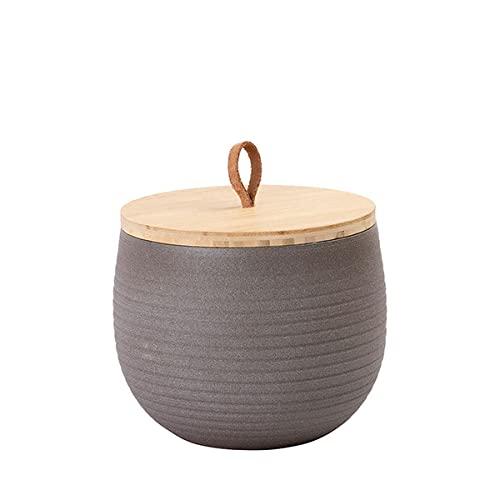 Animal Tree® personalisierbare Keramik Tierurne mit Holz-Deckel Stone - Dunkles Taupe, L - für Tiere bis 60 kg