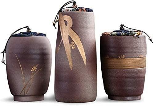 TYHZ Urne Ceramics Große Kapazität Doppelabdeckungsdichtung Handgefertigte Hochtemperatur-Brennerei-Urnen für eine kleine menschliche Asche Urne Hund (Size : 9.3x14.6cm)