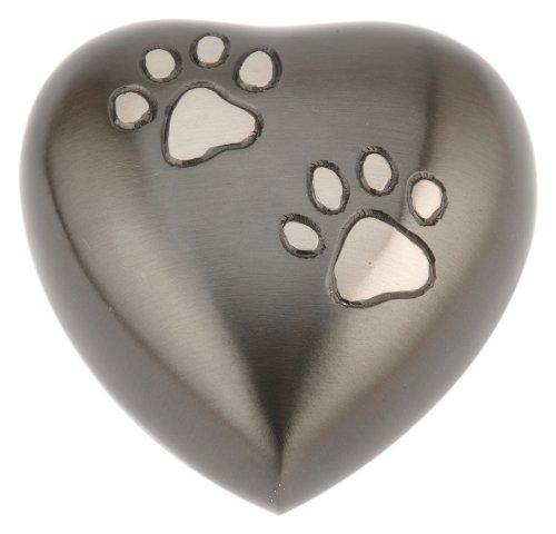 Urns UK Chertsey Gedenkurne für Haustiere herzförmig 7,6cm Zinnoptik / Schwarz