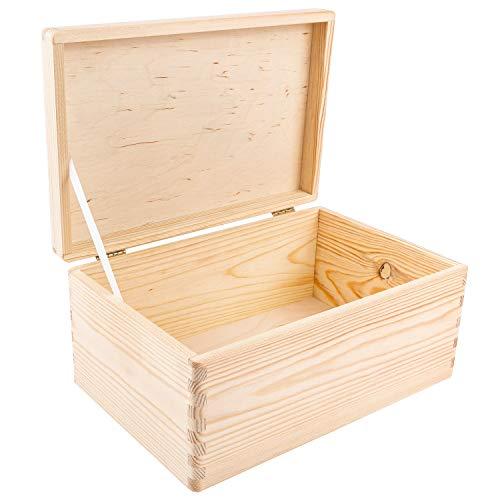 Creative Deco Große Holz-Kiste mit Deckel | 30 x 20 x 14 cm (+/-1cm) | Erinnerungsbox Baby | Holz-Box Unlackiert Kasten | ohne Griffen | Für Dokumente, Spielzeug, Werkzeuge | ROH & UNGESCHLIFFEN