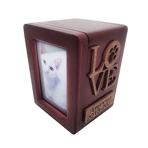 Tarngod Personalisierbarer Name und Datum, Liebes-Logo und Haustier-Avatar, Einäscherungs-Urne, gravierte Asche für Hunde und Katzen, Holzbox (B)