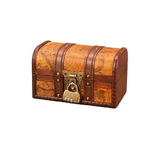 LSONE Hölzerne Schatzkiste,Antike Karte Vintage Stil Holz Aufbewahrung Schatzkiste,Schmuck Aufbewahrungsbox Mit Schloss Dekoration Zeigt Kunsthandwerk (S,Passwort)