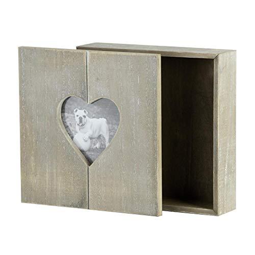 Rivanto® Steck-Holz-Geschenkbox mit Herz-Bilderrahmen, Fotobox, Holzbox,Holzschatulle, Holzschachtel, Schmuckkästchen mit Herzmotiv, 20 x 20 x 6 cm