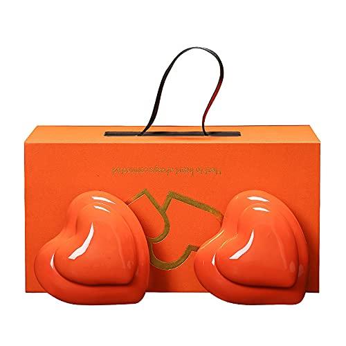 Mini Urnen Für Asche 2Er Set, Keramik Gedenkstätten Kleine Urne Für Menschen, Handgefertigtes Doppelherz Modell Andenken, Fassungsvermögen 100 Ml,Orange