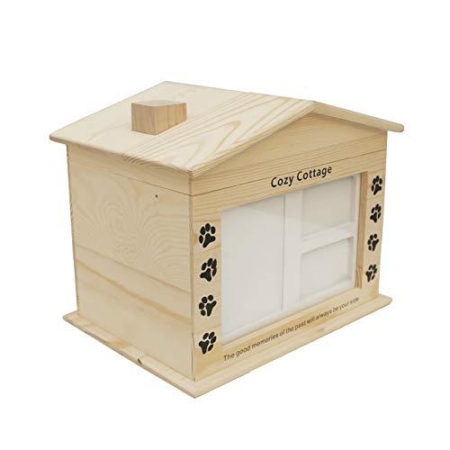 Cozy Cottage Holzurnen für Haustiere, Souvenir, Fotorahmen, Asche, Gedenkboxen, Beerdigung, Schatullen für Haustiere für Hunde und Katzen, Andenken (Farbe: A)