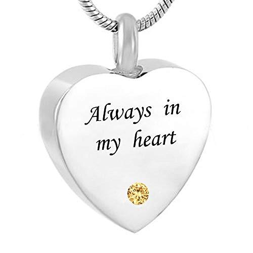 Edelstahl Herz Feuerbestattung Urne Asche Anhänger Halskette Forever In My Heart Gravur Trichter-Füllen-Kit Mit Geschenkbox,Silver6