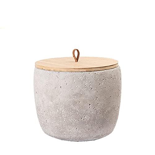 Animal Tree® personalisierbare Keramik Tierurne mit Holz-Deckel Beton - S - für Tiere bis 10 kg