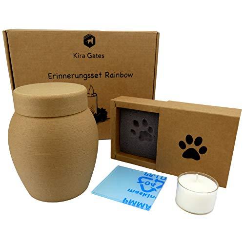 Tierurne aus Holz | Set mit Katzenurne oder Hundeurne, Pfotenabdruck Box und Kerze (Für Tiere bis 4 Kg)