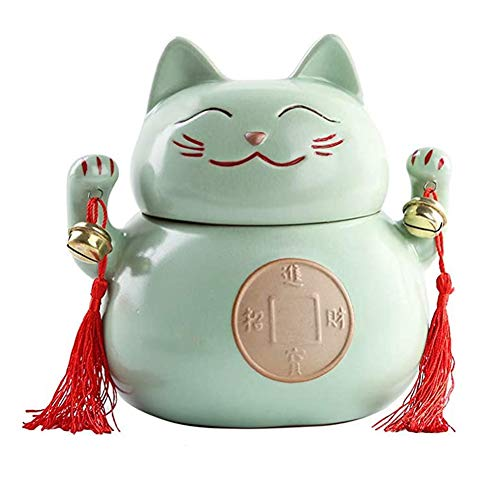 WGXY Keramik Einäscherung Urn Memorial Funeral Asche können einige Erwachsene Urn und Tier Urnen Mini Lucky Cat (6.7 * 6.5') Beherbergungs