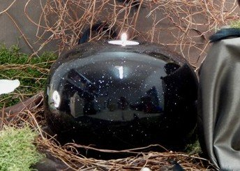 Tierurne - Kugel aus Keramik mit Trauerlichteinsatz, Effektschwarz, Vol. ca. 2,00 Ltr.*