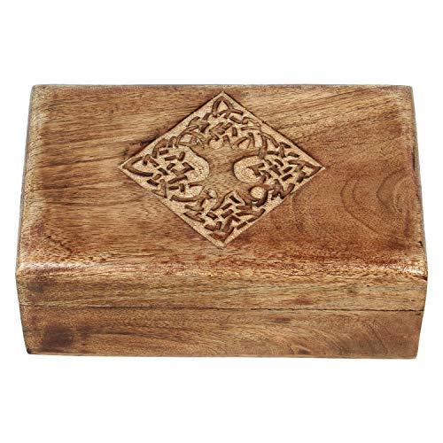 Ajuny Schmuckkästchen aus Holz, indisch, handgefertigt, ländlicher Stil, mit handgeschnitztem keltischen Design