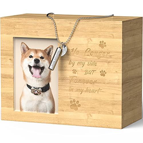 TONGKTAI Haustierurnen für Hunde und Katzen, Holz, für Asche Andenken Foto-Box mit Bilderrahmen, Haustier-Kremationsbox für Hunde und Katzen Asche (Nicht länger an meiner Seite mit Halskette)