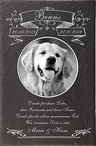 Pokal Center Westerheider Tiergrabstein mit Bild und Text, Gedenktafel mit personalisierter Gravur für Hunde, Katzen, Haustiere Gedenksteine aus Naturschiefer 30 x 20 cm