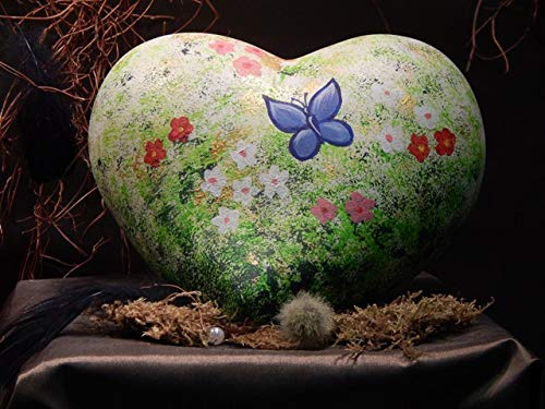 Tierurne - Herz aus Keramik - Motiv: Blumenwiese, Vol. ca. 1,25 Ltr, Unikat*