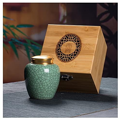 HLONGG Mini Urnen Medium Size Memorial Funeral Andenken Urne Seladon Feuerbestattung Urne für Asche Haustiere Asche Zum Gedenken an Ihre Lieblingsperson,Green1