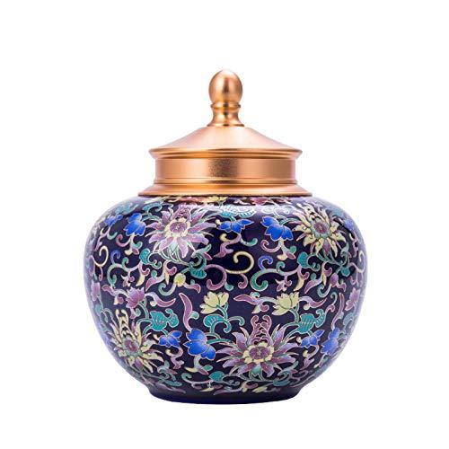 Urne Tierurnen Bestattung, Erwachsene Aus Menschlicher Asche, Handgefertigt Keramik, Urne Der Gräber - Zu Hause (Doppelabdeckung aus Aluminiumlegierung) 11/26 ( Color : Blue , Size : W17cm*H20cm )
