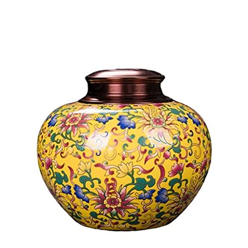 WHL Haustier Urne Email Keramik-Haustier-Urnen Katzenhundasche-Halter Pot-Siegel Asche Urnen (Color : Yellow, Größe : 14cm)