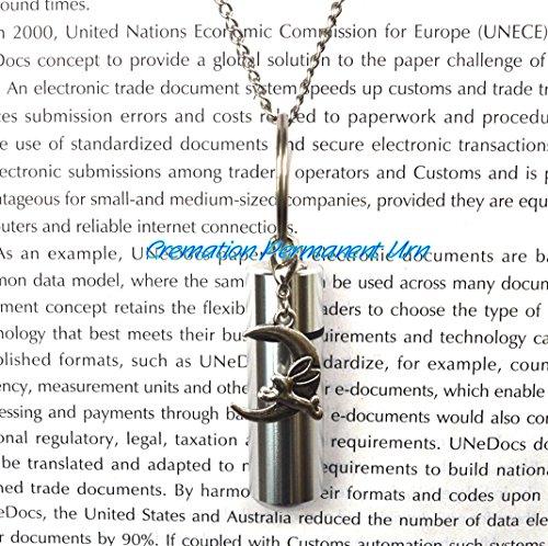 Urne aus Edelstahl, Motiv: Kaninchen und Mond, Urnen-Schmuck für Herren, Urnen-Schmuck, Urnen-Halskette, Asche-Halskette, Urnen-Halskette